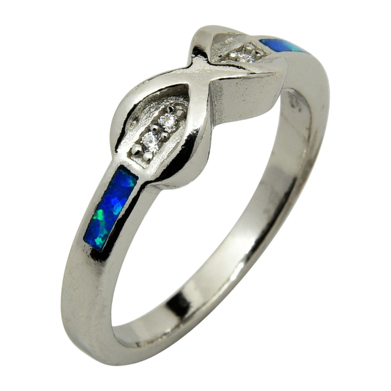 Sterling Silver Blue Lab Opal & CZ Infinity Ring Size 5-9