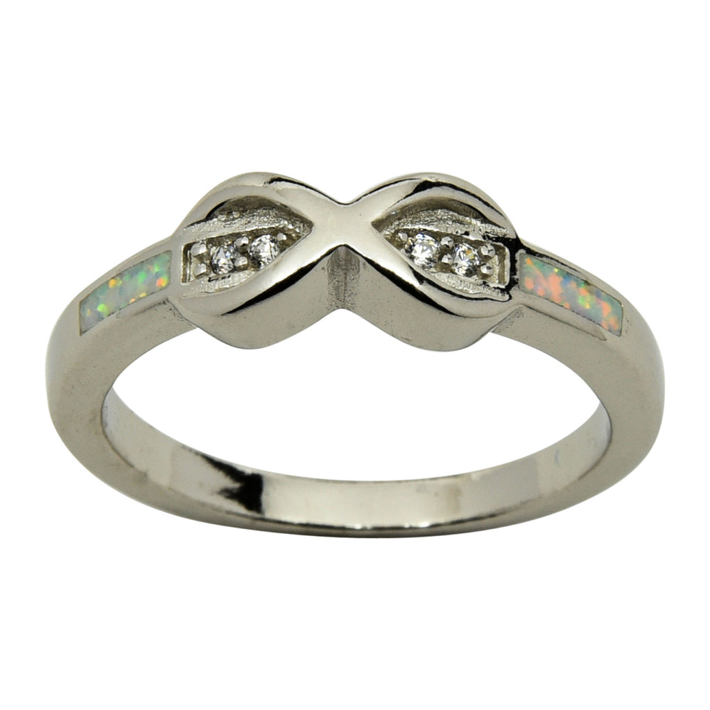 Sterling Silver White Lab Opal & CZ Infinity Ring Size 5-9