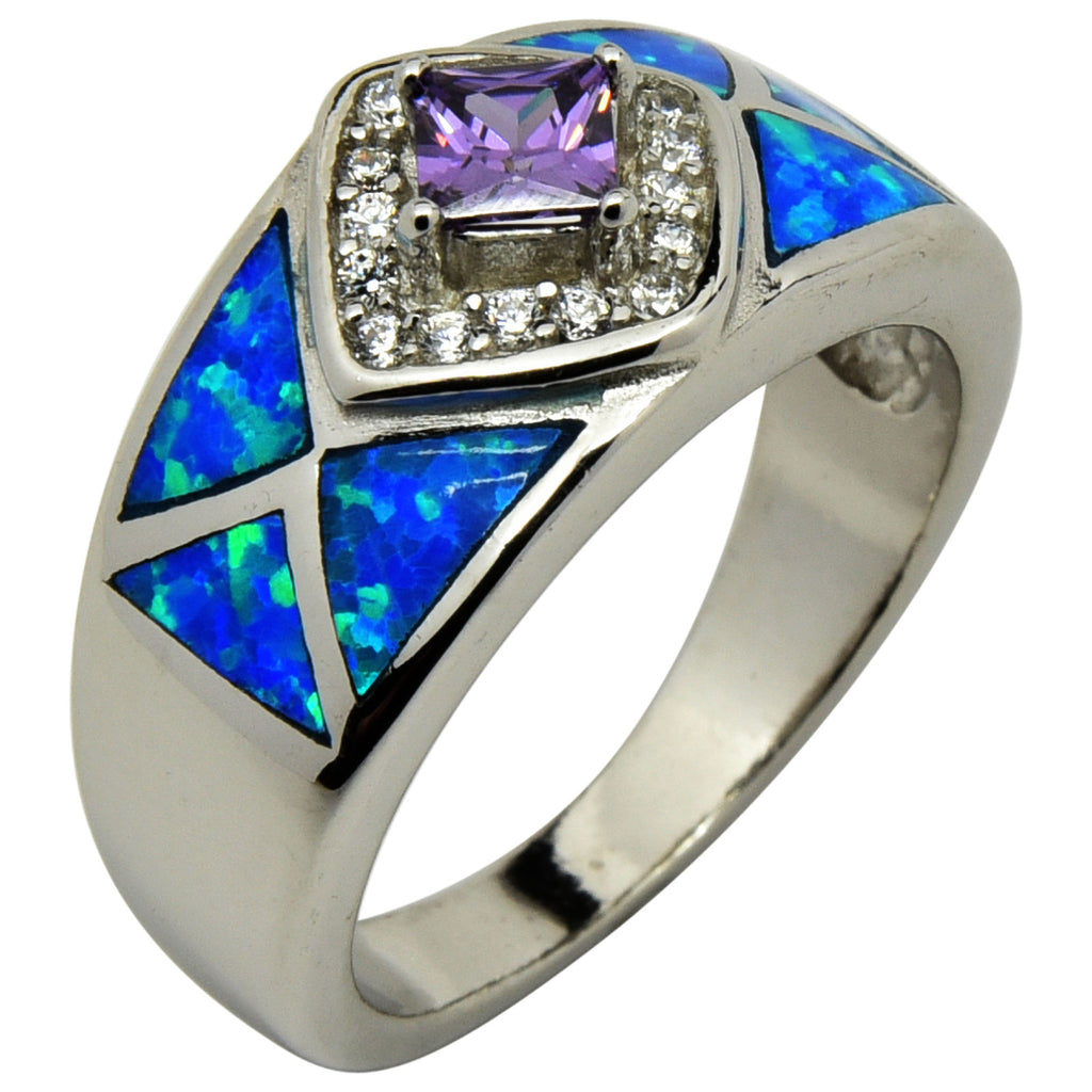 Blue Lab Opal & Purple CZ Ring Sterling Silver Size 6-9