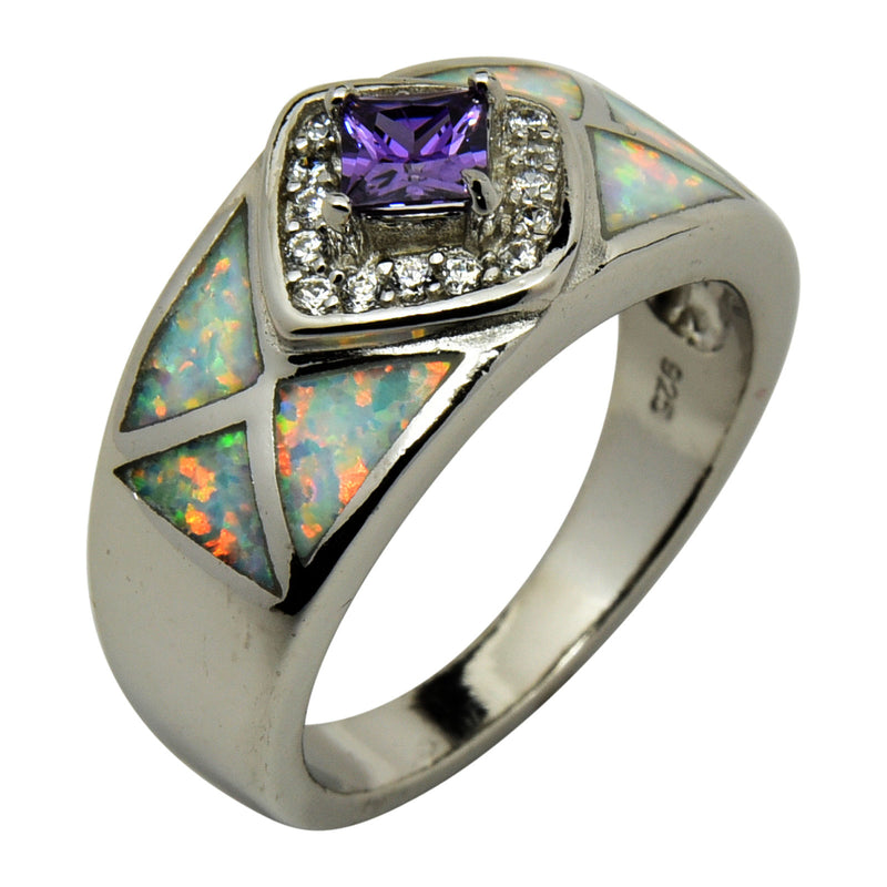 White Lab Opal & Purple CZ Ring Sterling Silver Size 6-9