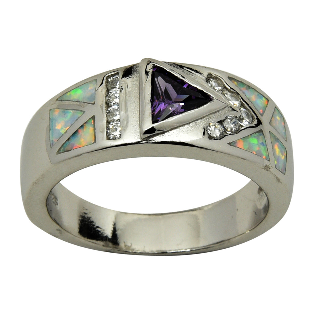 Sterling Silver White Lab Opal & Purple CZ Ring 6-9