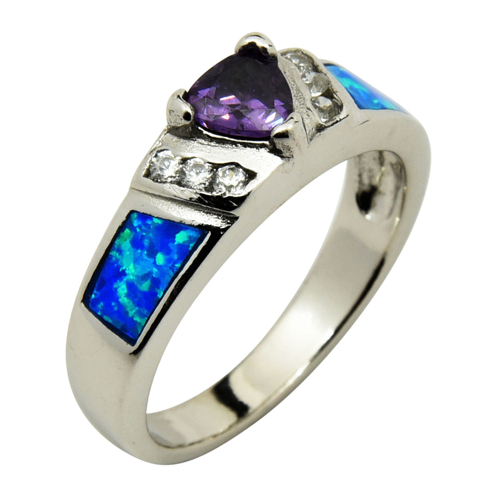 Sterling Silver Blue Lab Opal & Purple Triangle CZ Ring Size 6-9