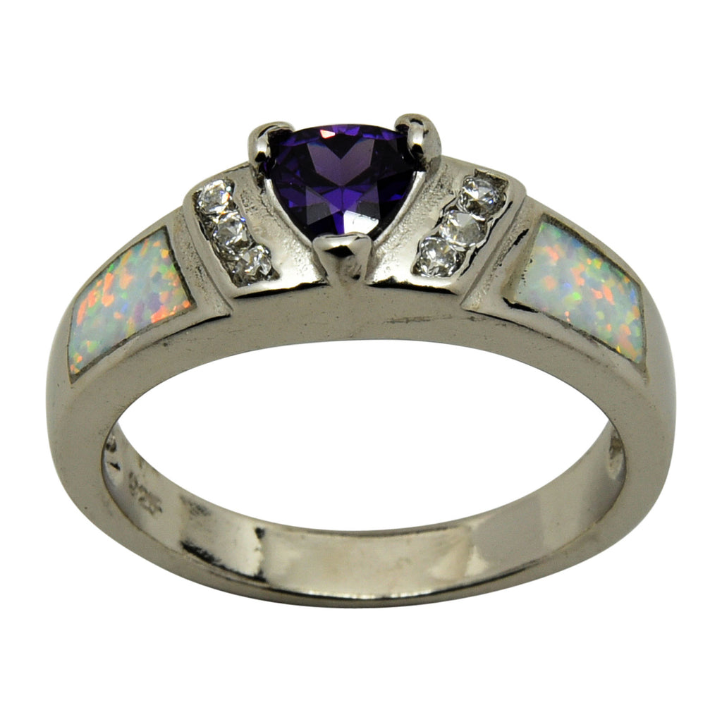 Sterling Silver White Lab Opal & Purple Triangle CZ Ring Size 6-9