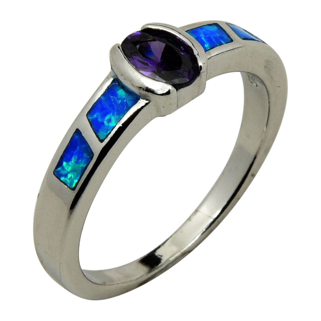 Blue Lab Opal & Purple Oval CZ Ring Sterling Silver Size 6-9