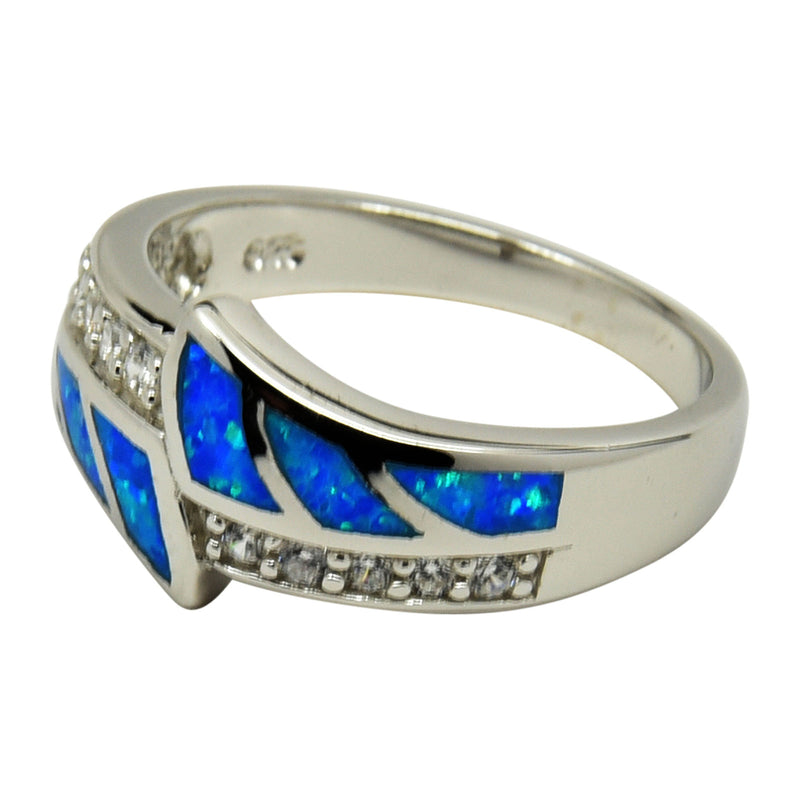 Sterling Silver Blue Lab Opal & CZ Inlay Ring Size 5-10