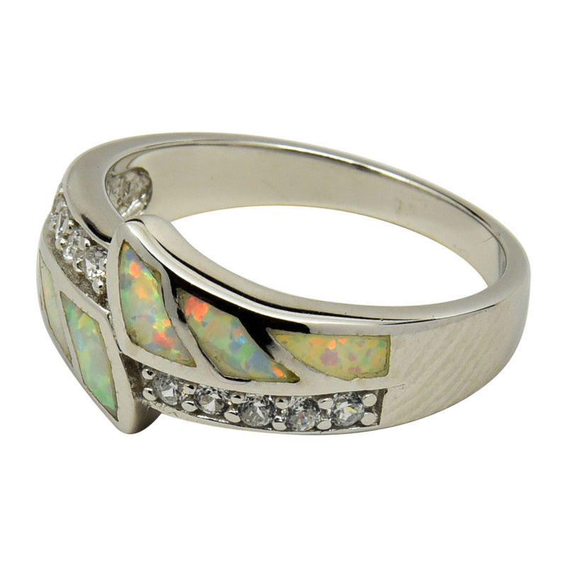Sterling Silver White Lab Opal & CZ Inlay Ring Size 5-10