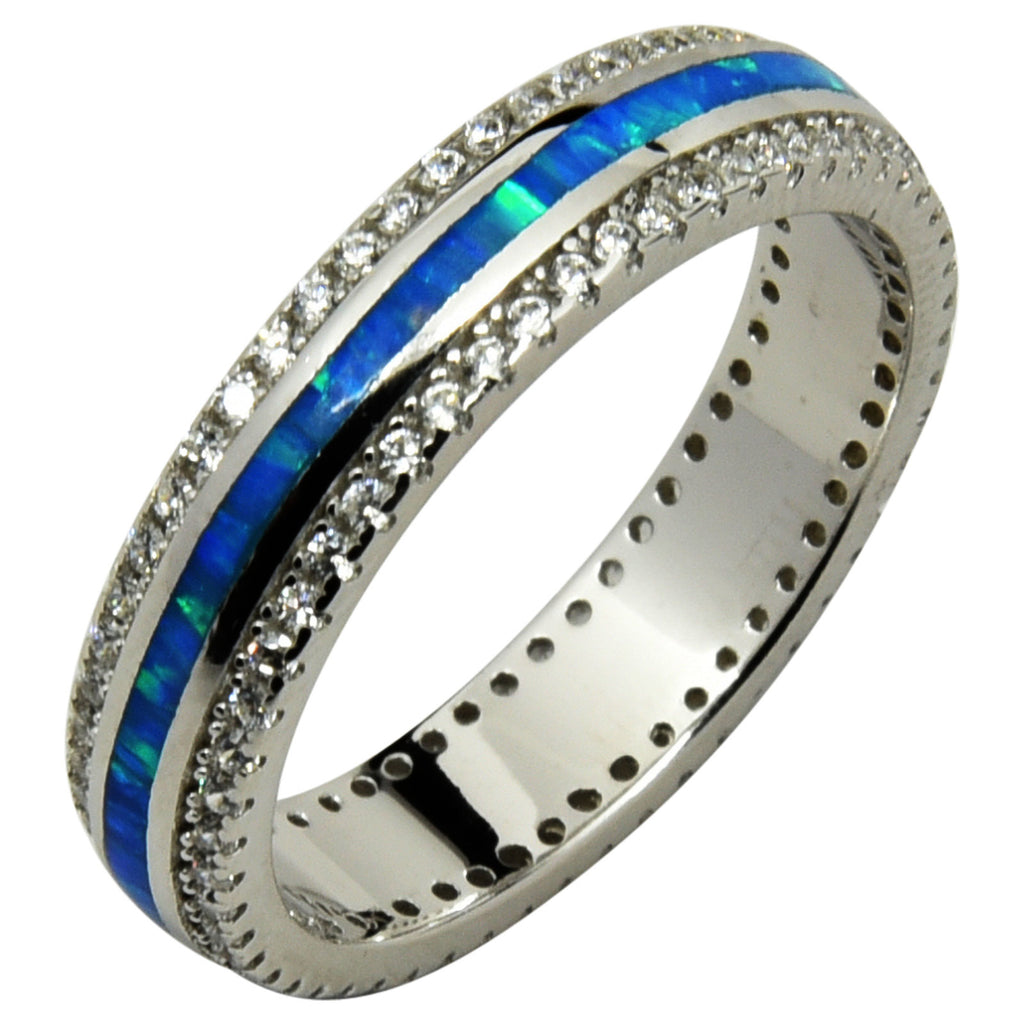 Sterling Silver Blue Lab Opal & CZ Channel Set Eternity Band Ring Size 5-10