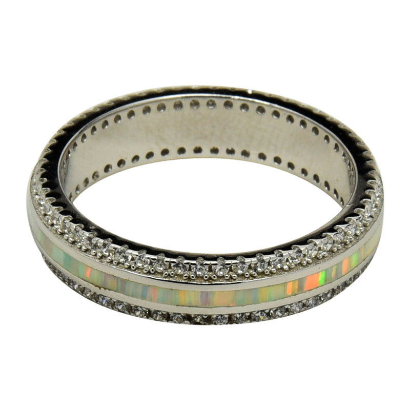 Sterling Silver White Lab Opal & CZ Channel Set Eternity Band Ring Size 5-10