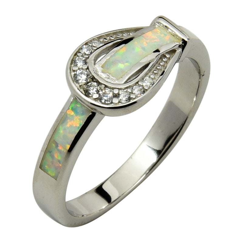 Sterling Silver White Lab Opal & CZ Belt Buckle Ring Size 5-9