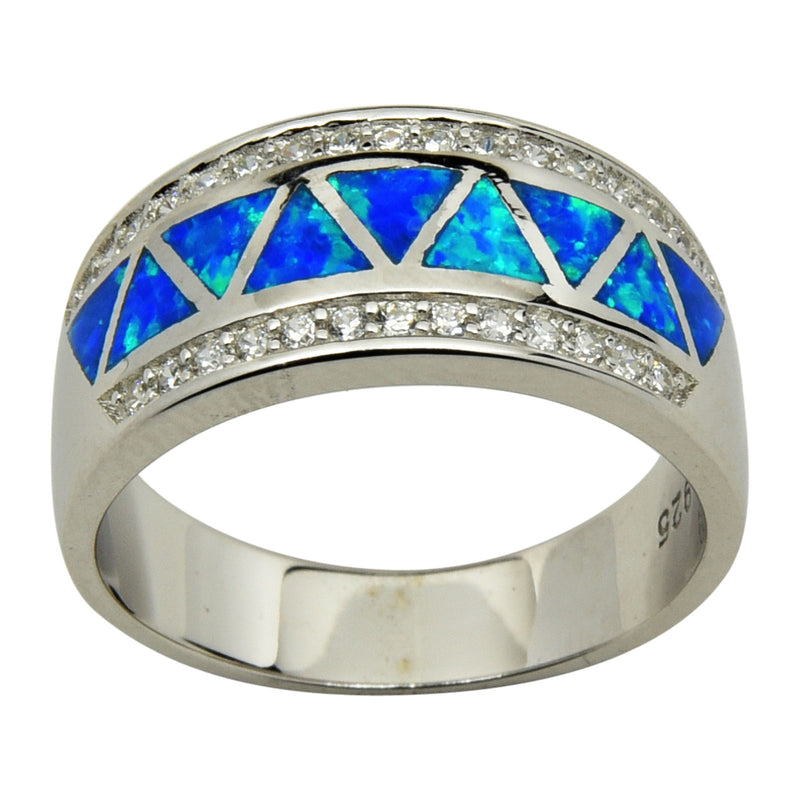 Blue Lab Opal & CZ Inlay Ring Sterling Silver Size 5-10