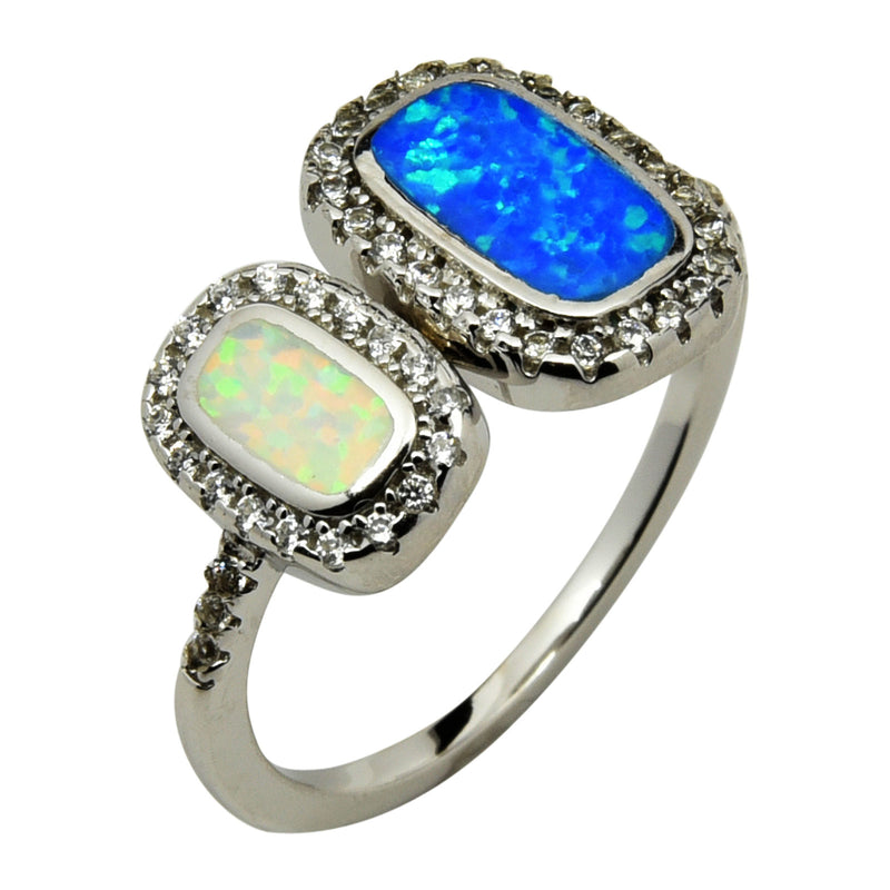 Sterling Silver Blue White Lab Opal & CZ Double Rectangle Ring 5-10