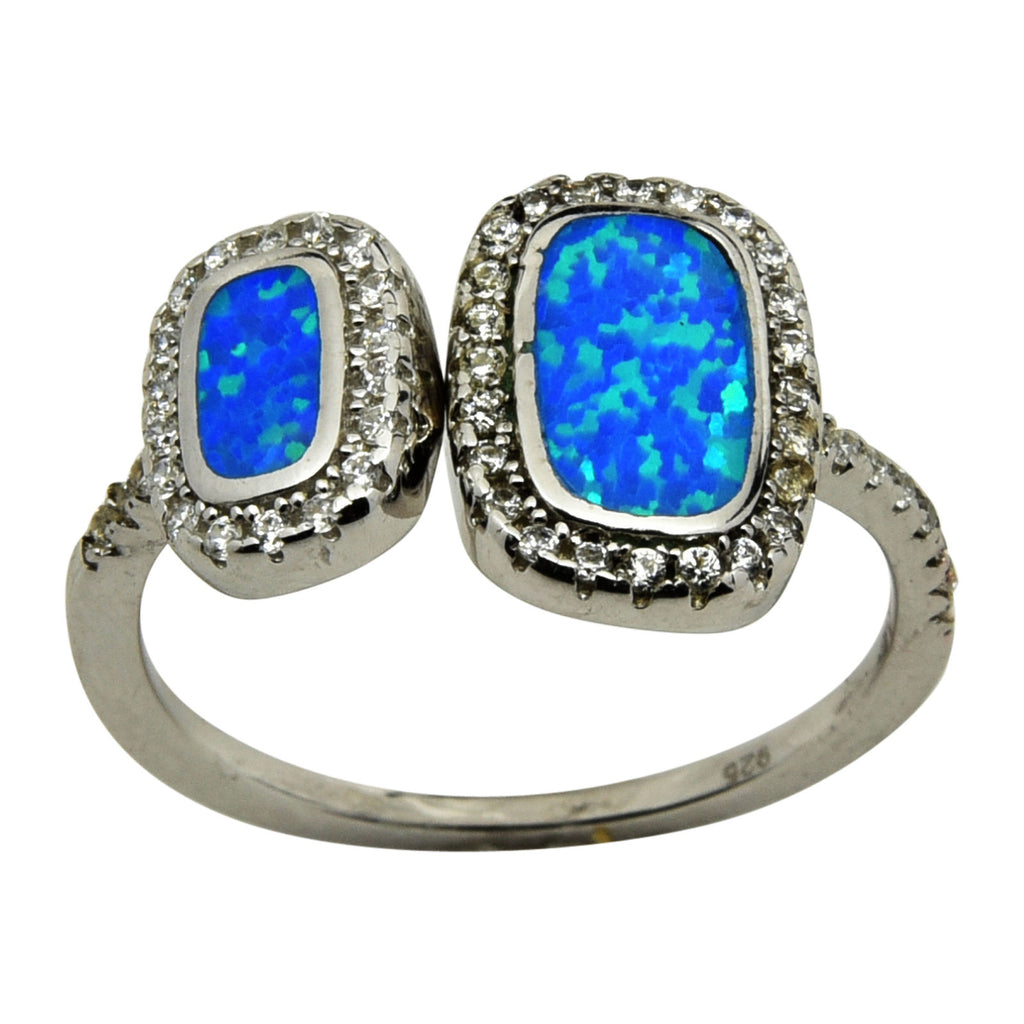 Sterling Silver Blue Lab Opal & CZ Double Rectangle Ring 5-10