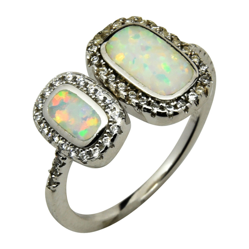 Sterling Silver White Lab Opal & CZ Double Rectangle Ring 5-10