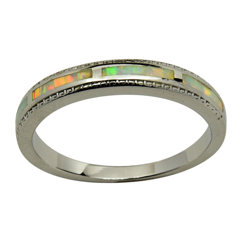 Sterling Silver White Lab Opal Eternity Half Band Ring Size 5-10