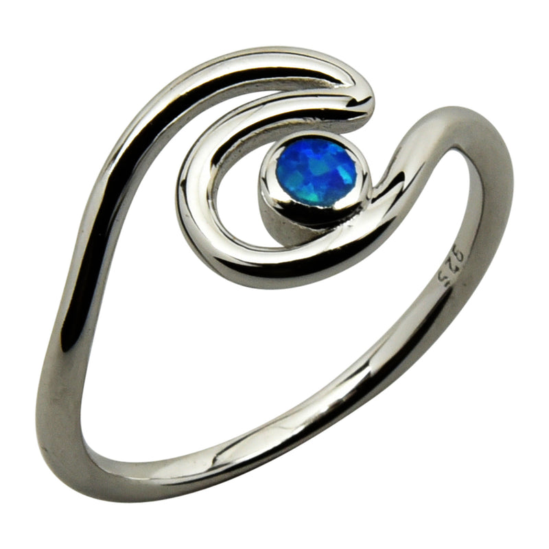 Sterling Silver Blue Lab Opal Double Wave Ring Size 4-10