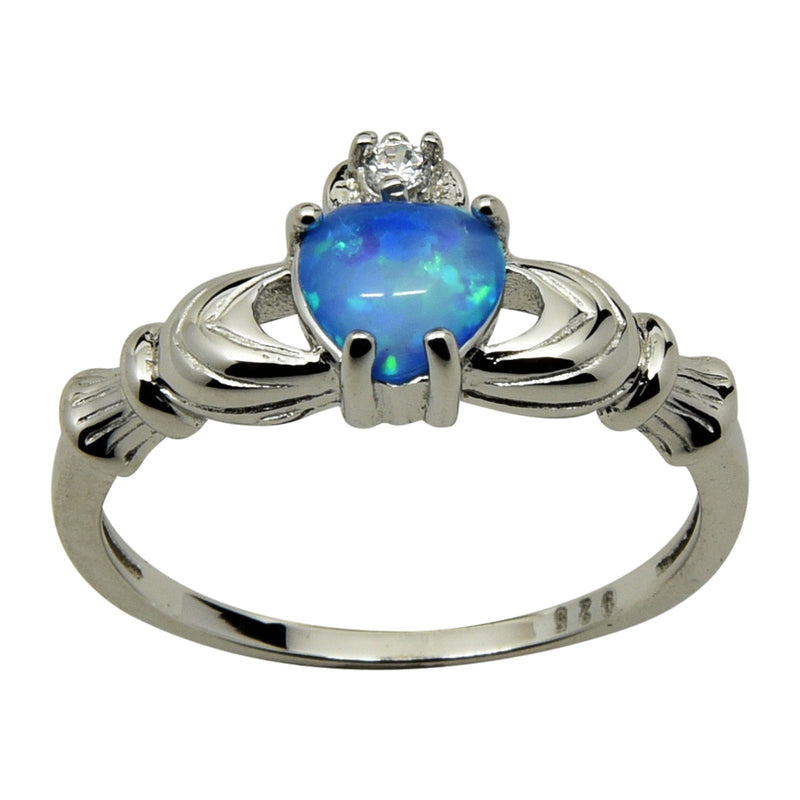 Sterling Silver Blue Lab Opal Heart Claddagh Ring Size 4-9