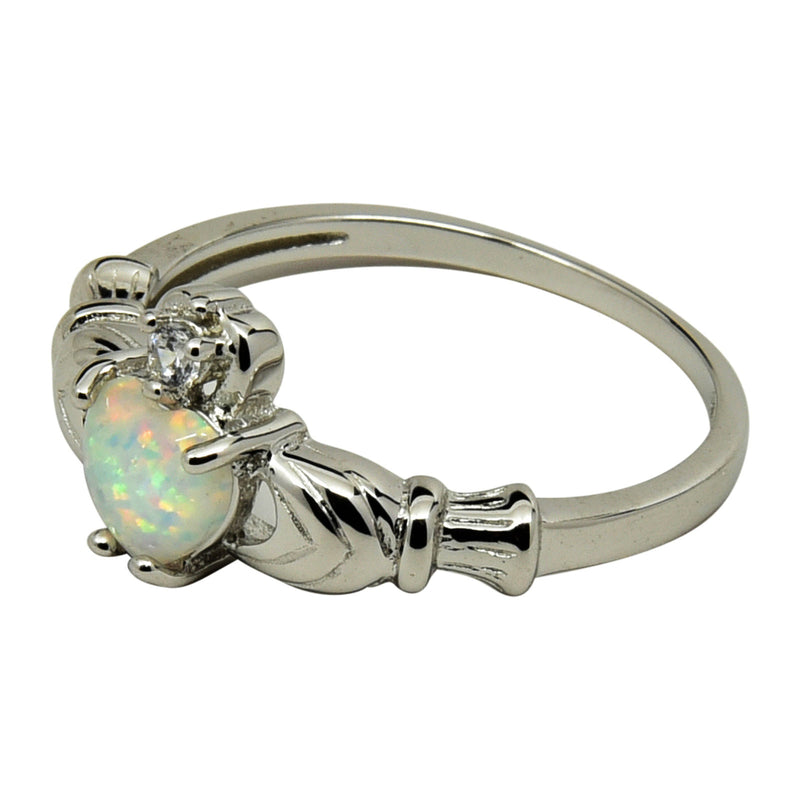 Sterling Silver White Lab Opal Heart Claddagh Ring Size 4-9