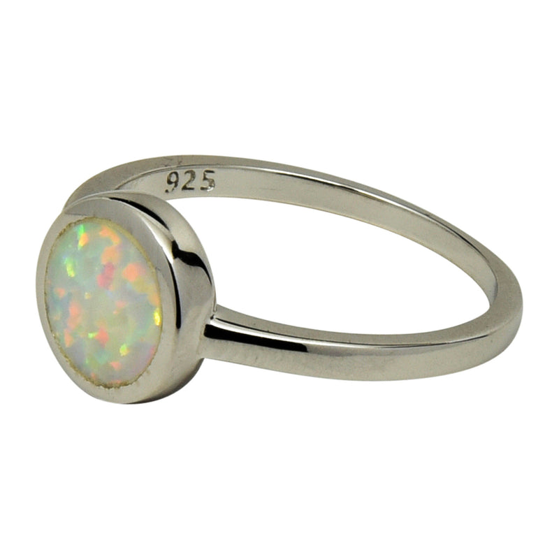 Sterling Silver White Lab Opal Round Ring Size 4-9