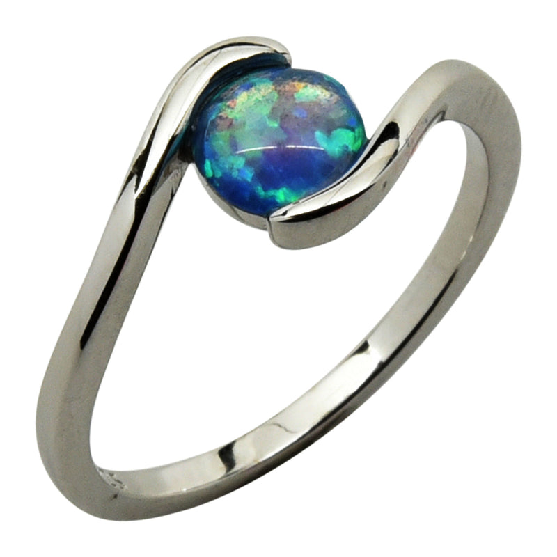 Sterling Silver Blue Lab Opal Round Ring Size 4-9