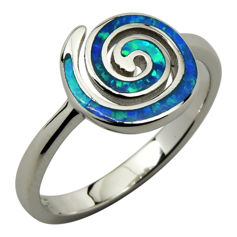 Sterling Silver Blue Lab Opal Round Spiral Ring Size 4-9