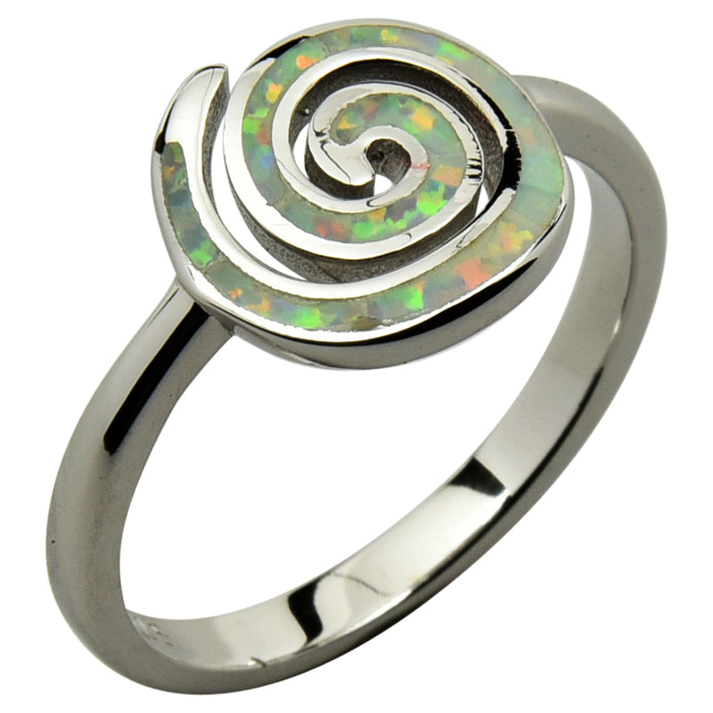 Sterling Silver White Lab Opal Round Spiral Ring Size 4-9