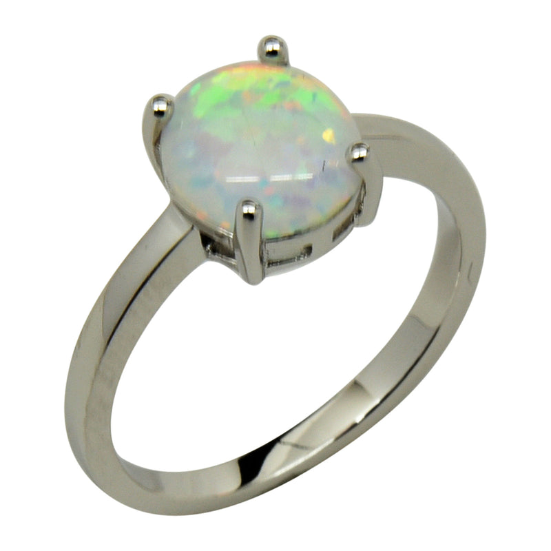 Sterling Silver White Lab Opal Prong Set Oval Ring Size 4-9