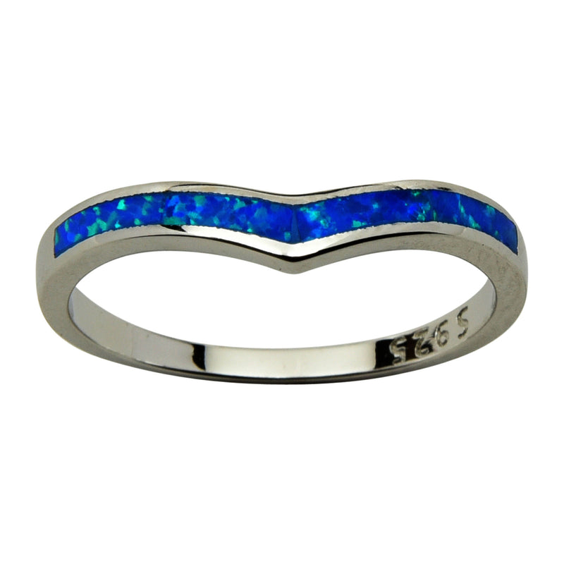 Sterling Silver Blue Lab Opal Chevron Stackable Ring Size 4-9
