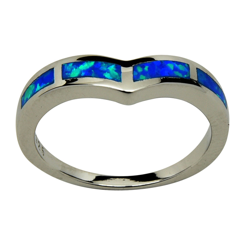 Sterling Silver Blue Lab Opal V-Shape Chevron Ring Size 5-10