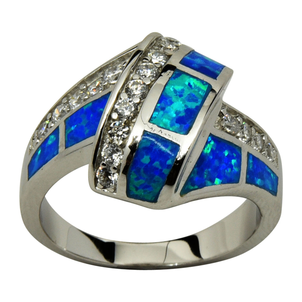 Sterling Silver Blue Lab Opal & CZ Ribbon Ring Size 5-10
