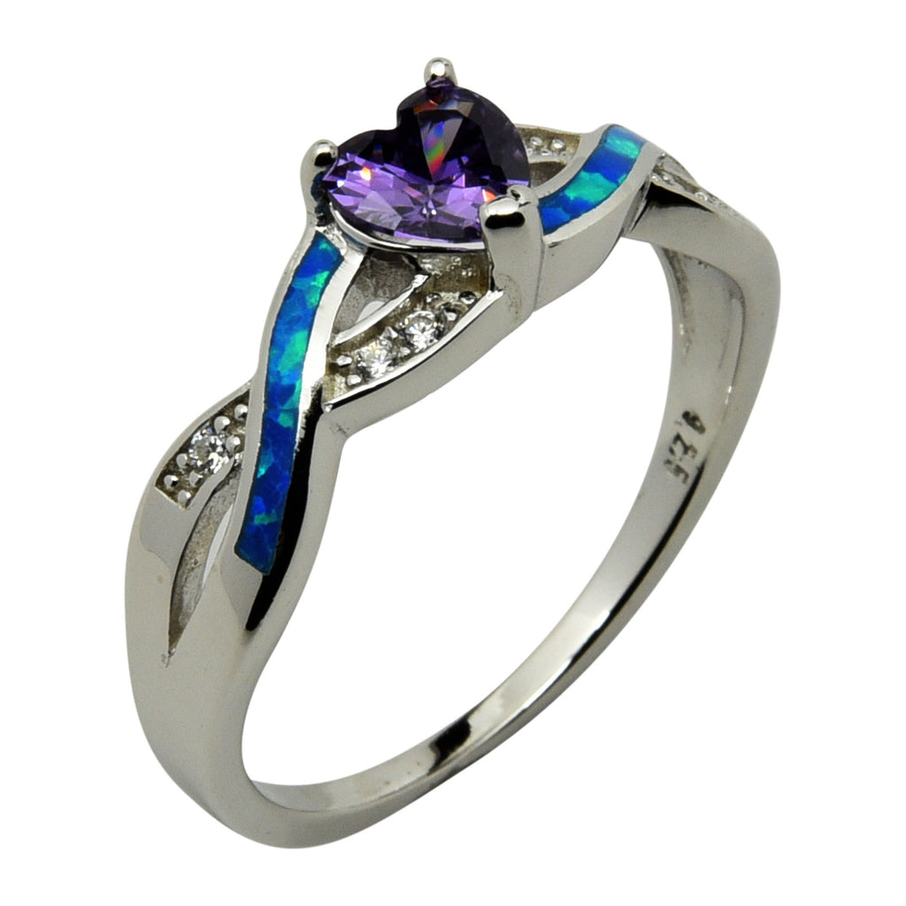 Sterling Silver Blue Lab Opal & Purple CZ Heart Infinity Ring Size 5-10