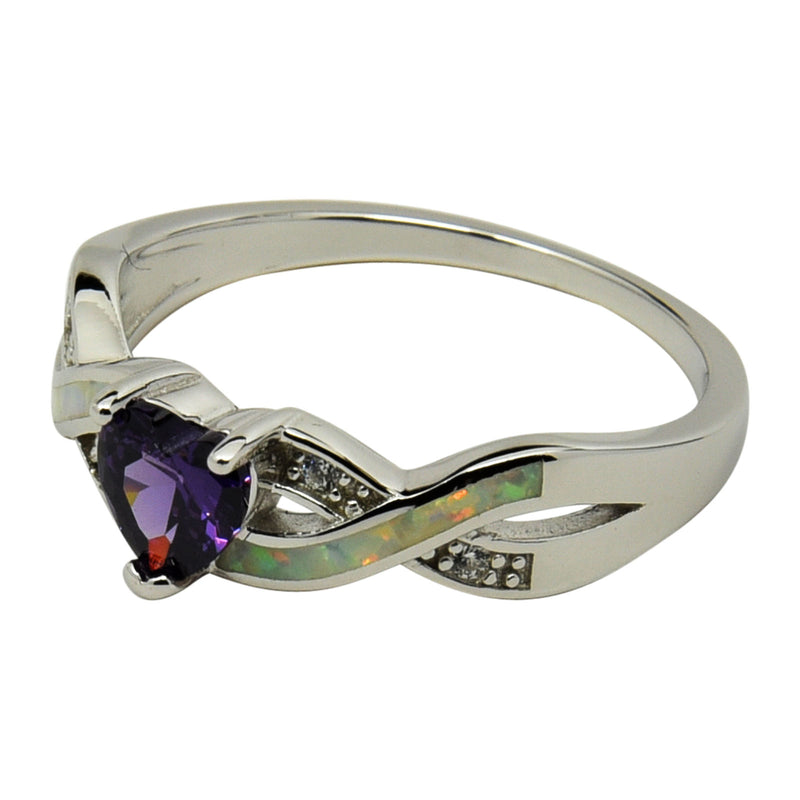 Sterling Silver White Lab Opal & Purple CZ Heart Infinity Ring Size 5-10