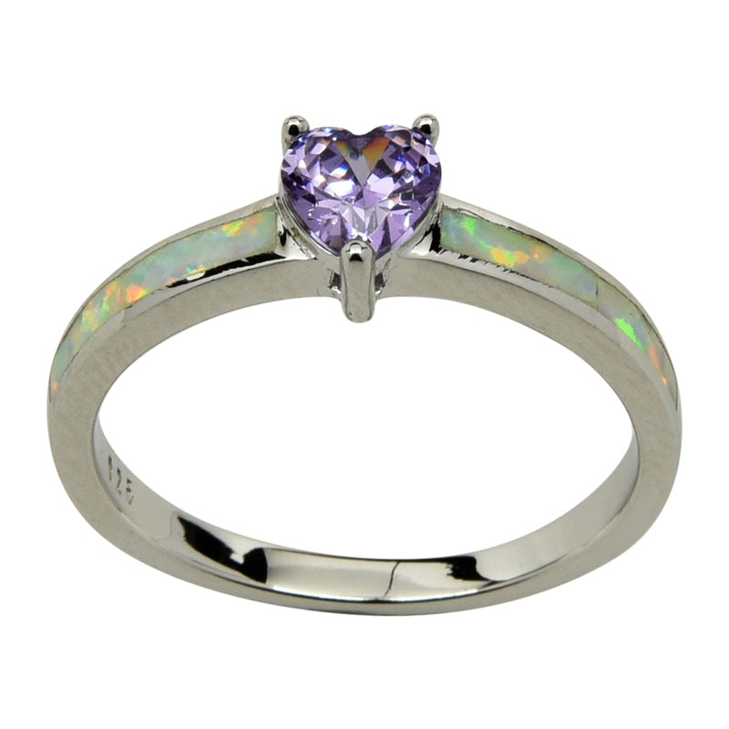 Sterling Silver White Lab Opal & Purple CZ Heart Ring Size 4-10