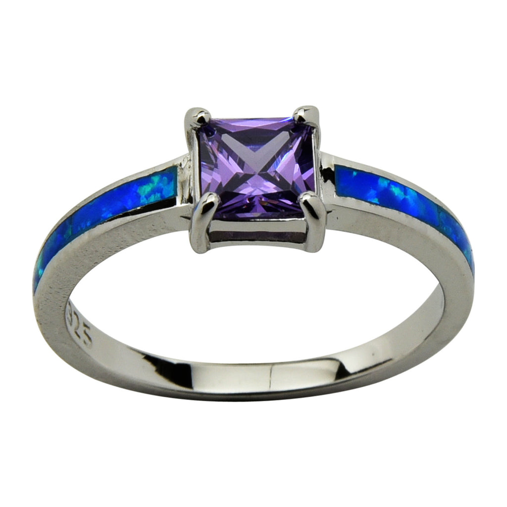 Sterling Silver Blue Lab Opal & Purple CZ Princess Cut Ring Size 4-10