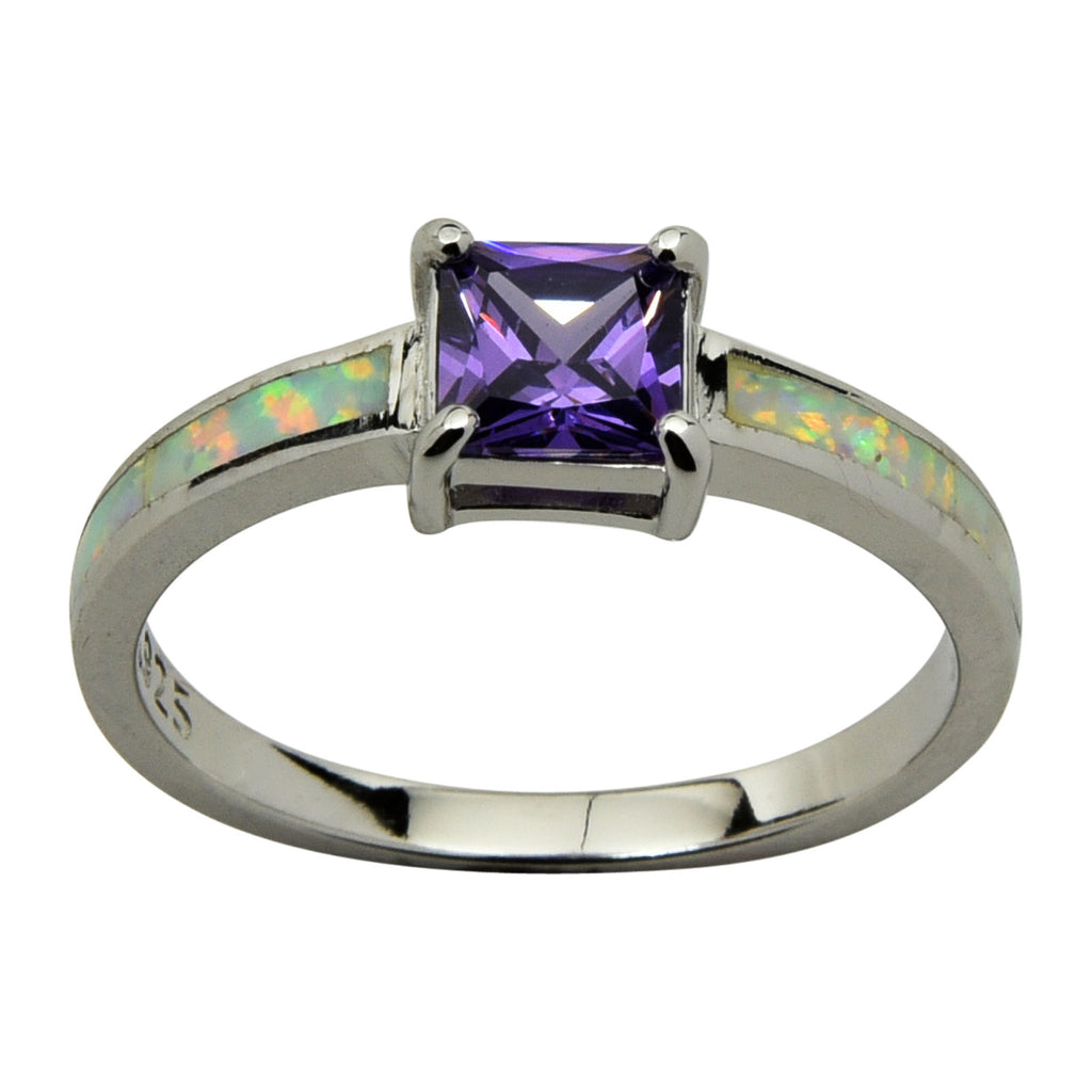 Sterling Silver White Lab Opal & Purple CZ Princess Cut Ring Size 4-10