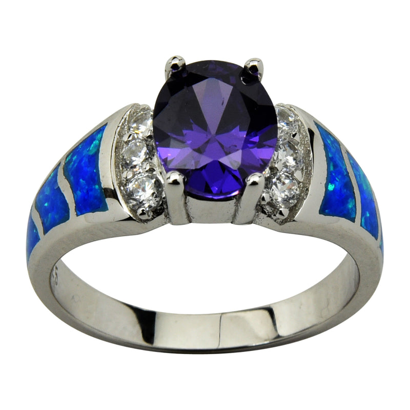 Sterling Silver Blue Lab Opal & Purple CZ Oval Ring Size 5-10