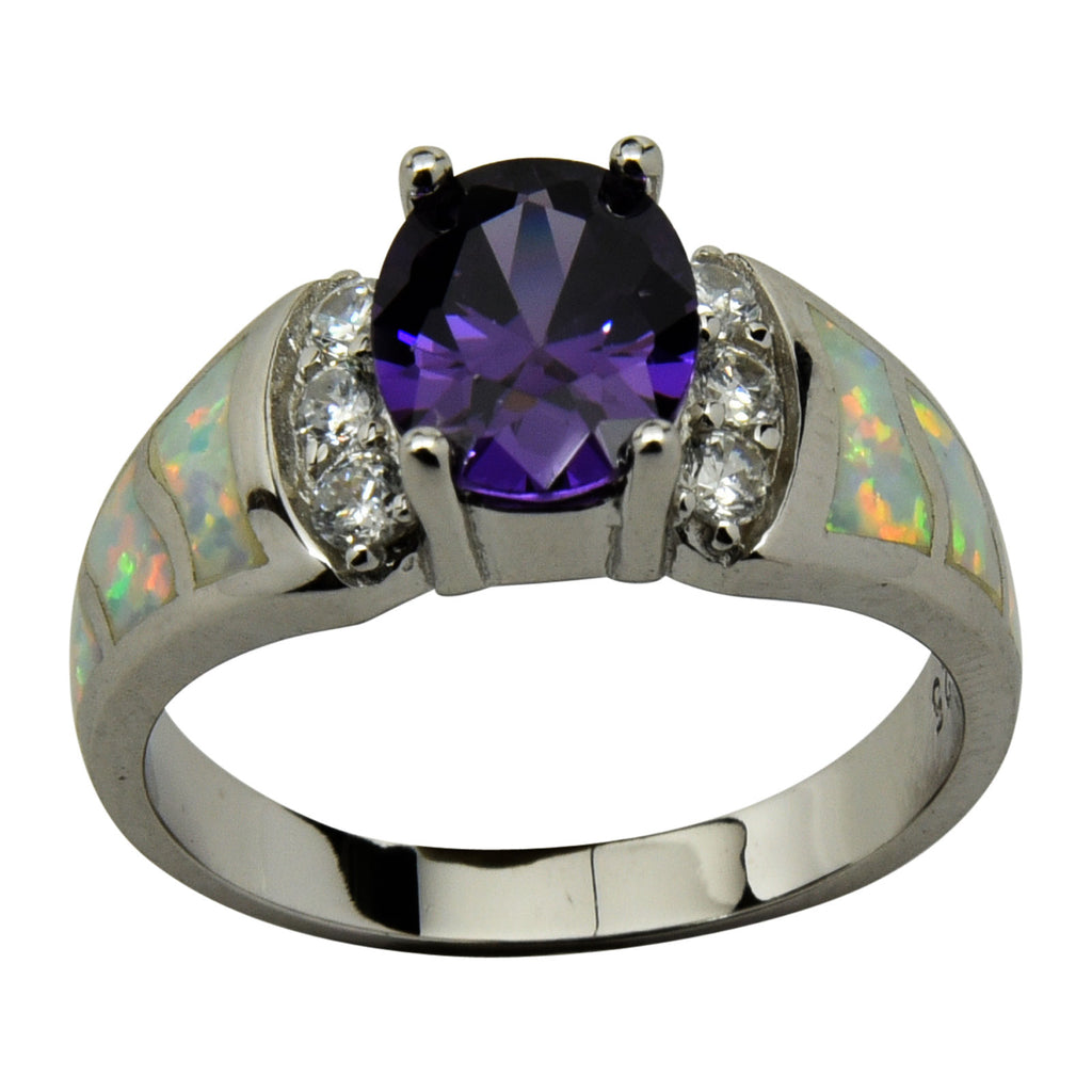 Sterling Silver White Lab Opal & Purple CZ Oval Ring Size 5-10