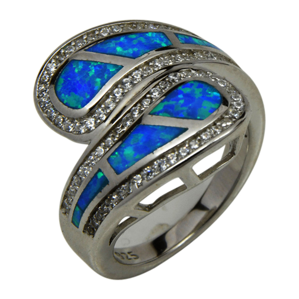 Sterling Silver Blue Lab Opal & CZ Ring Size 6-10