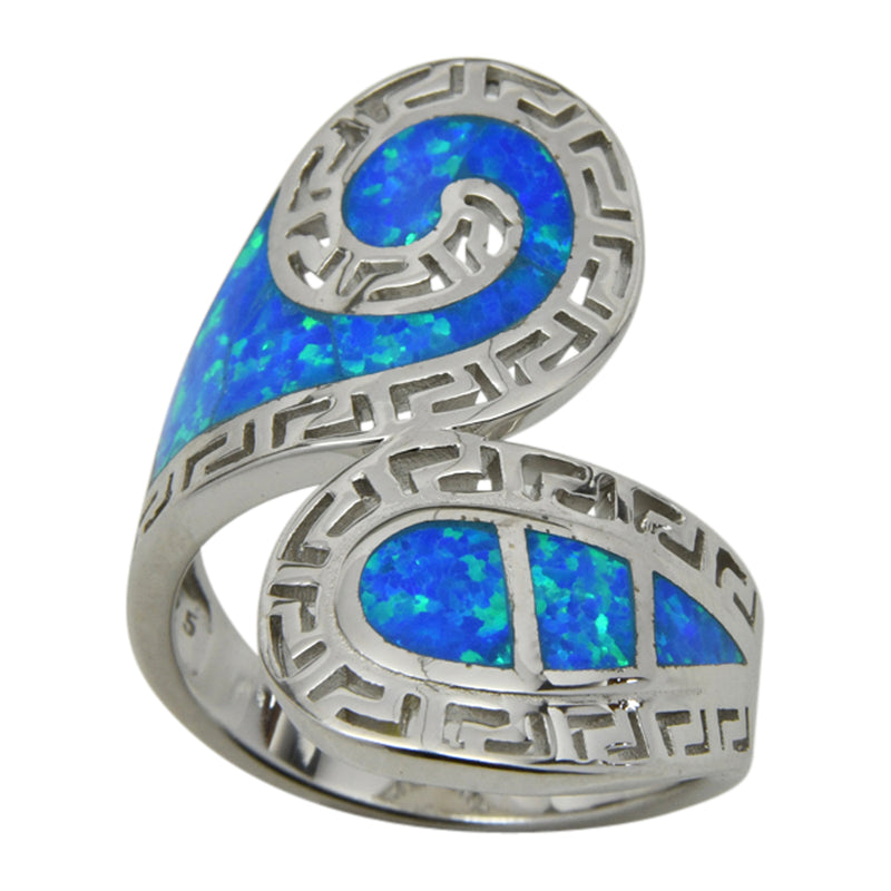 Sterling Silver Blue Lab Opal Greek Key Design Wrap Around Ring Sizes 6-10