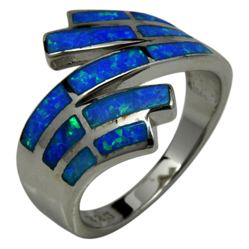 Sterling Silver Blue Lab Opal Inlay Ring Sizes 6-10