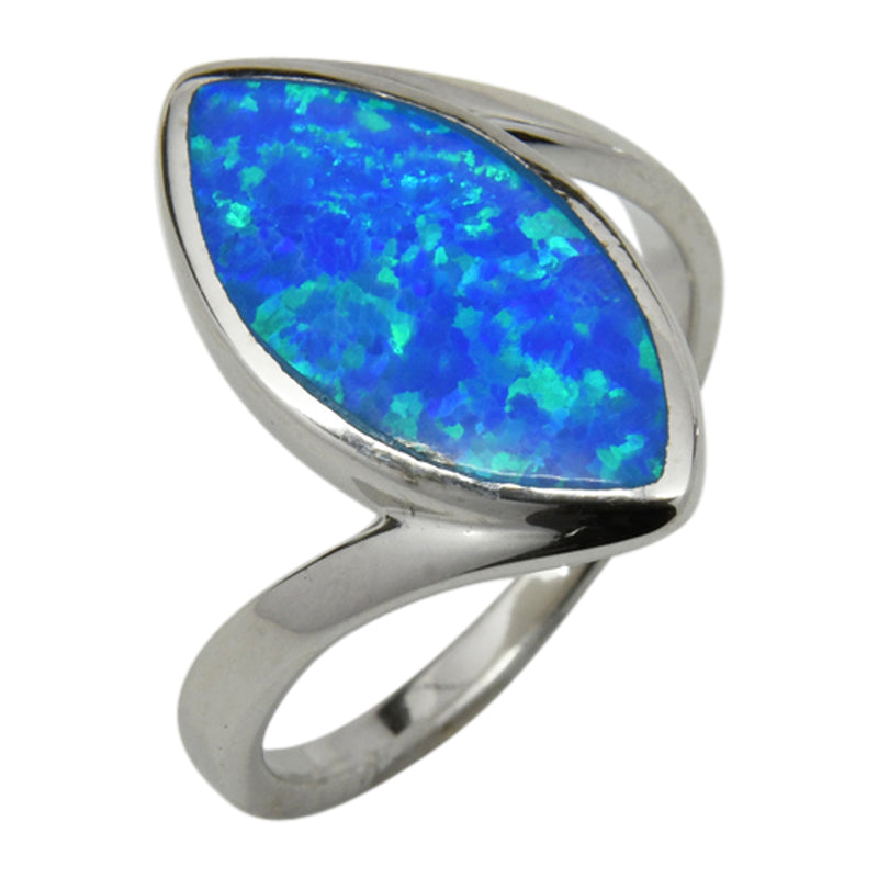 Sterling Silver Blue Lab Opal Marquis Shape Ring Sizes 6-10