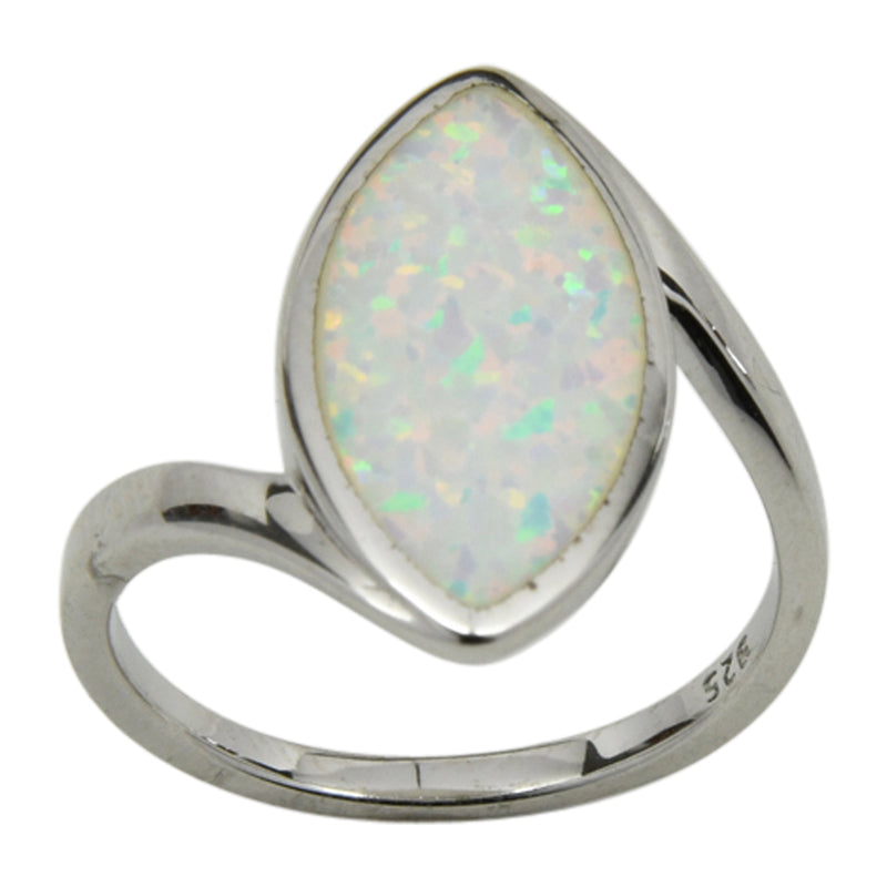 Sterling Silver White Lab Opal Marquis Shape Ring Sizes 6-10