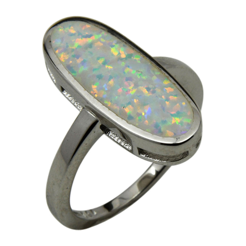 Sterling Silver White Lab Opal Oval Shape Ring Sizes 6-10