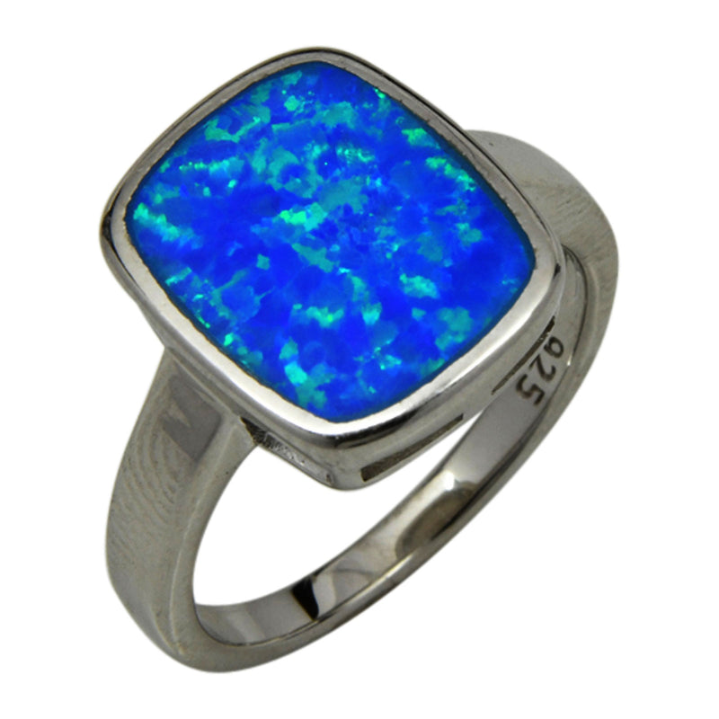 Sterling Silver Blue Lab Opal Square Shape Ring Sizes 6-10