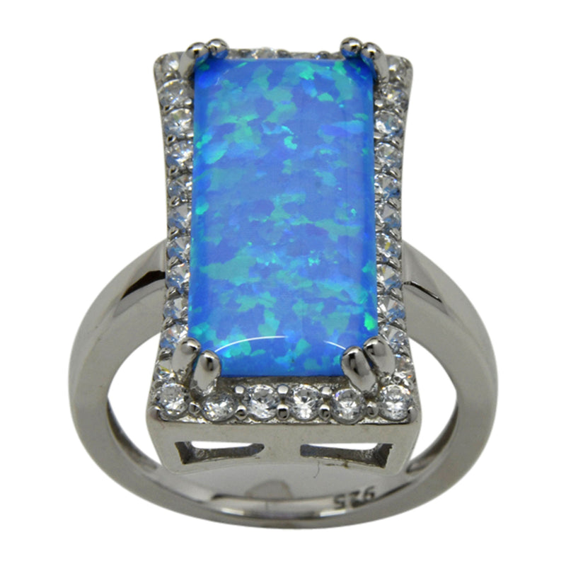 Sterling Silver Blue Lab Opal & CZ Cocktail Style Ring Size 5-9