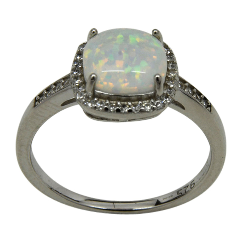 Sterling Silver Round White Lab Opal & CZ  Ring Size 5-9