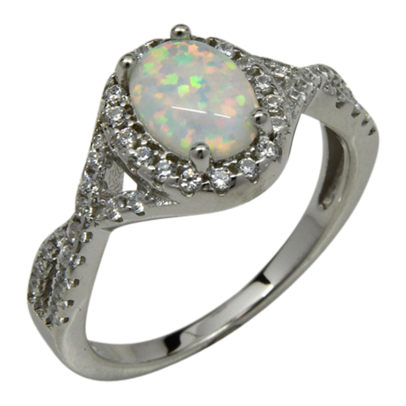Sterling Silver Round White Lab Opal & CZ  Infinity Oval Ring Size 5-9