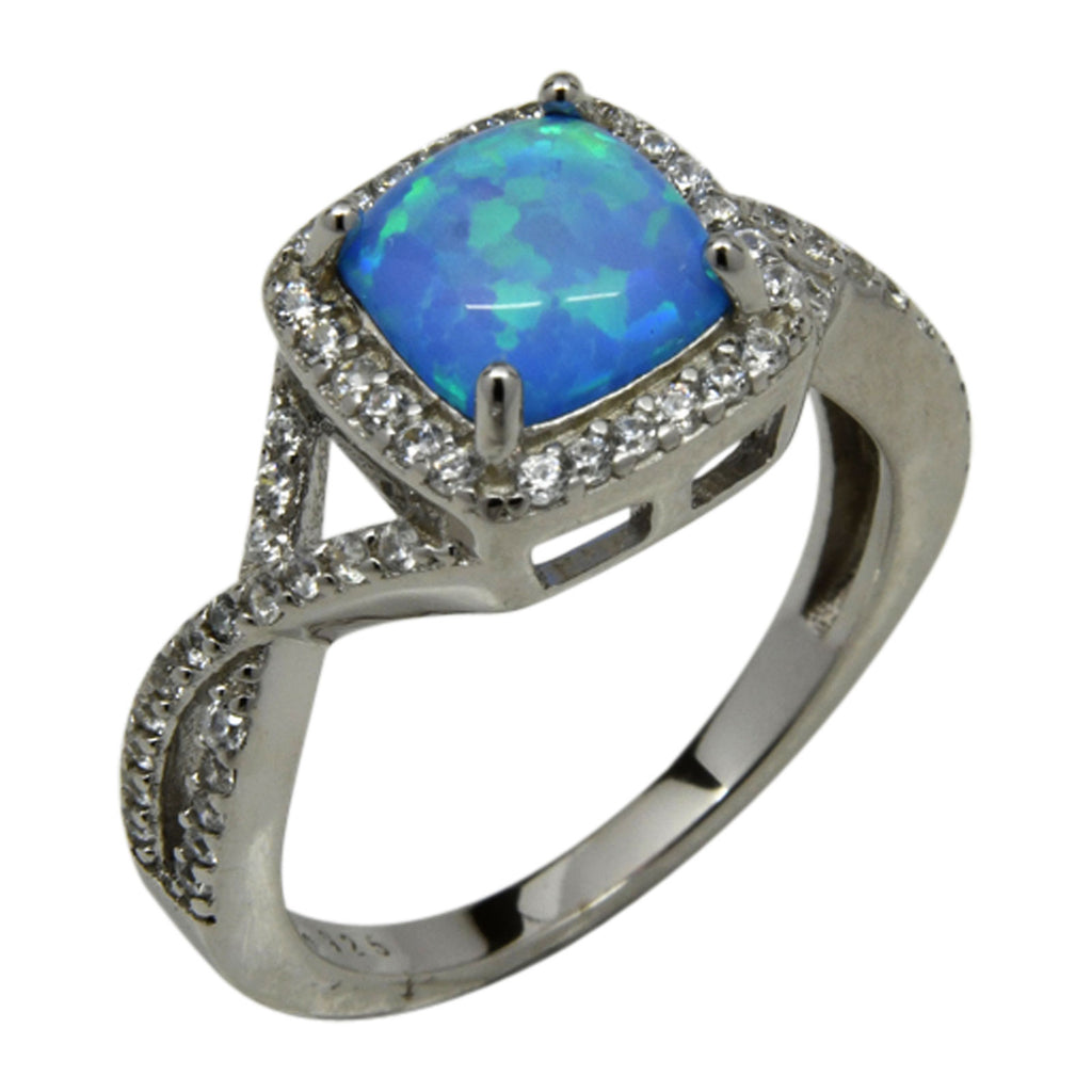 Sterling Silver Blue Lab Opal & CZ Square Twist Ring Size 5-9