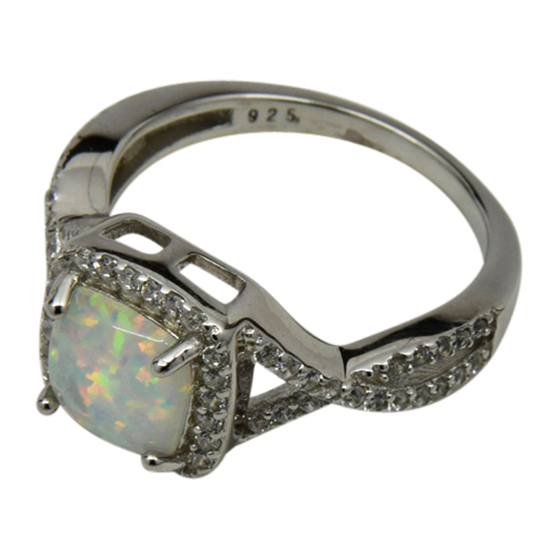 Sterling Silver White Lab Opal & CZ Square Twist Ring Size 5-9