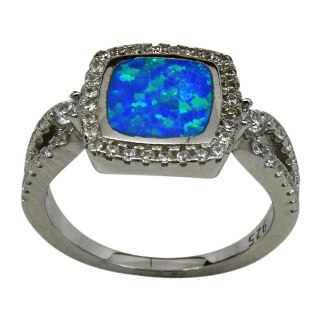 Sterling Silver Blue Lab Opal & CZ Square Ring Size 6-9