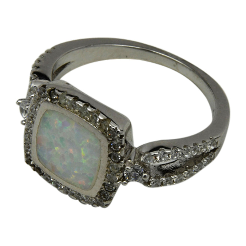 Sterling Silver White Lab Opal & CZ Square Ring Size 6-9